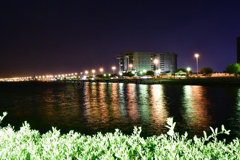A noite disparou na praia em AlKHobar de Arábia Saudita fotografia de stock royalty free