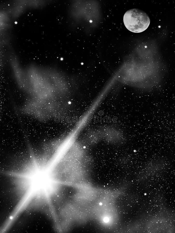 A noite do céu stars a lua ilustração do vetor