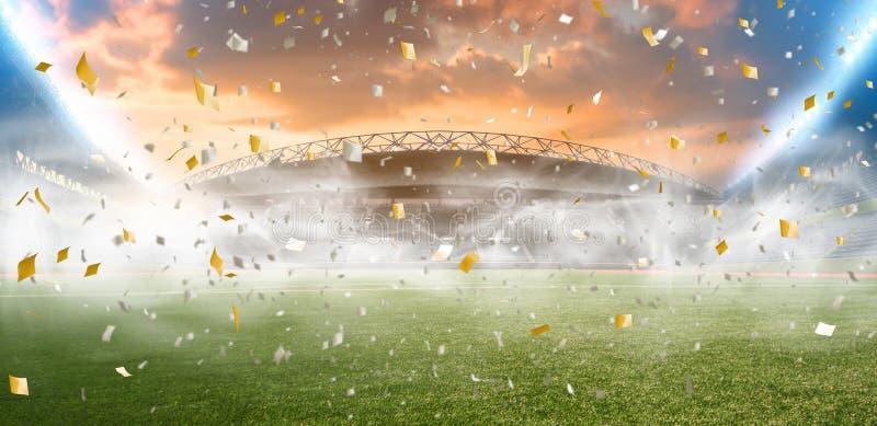 Noite do estádio antes do fósforo fotografia de stock royalty free
