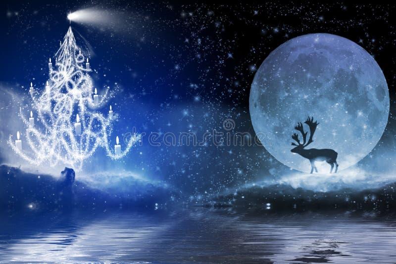 Noite do inverno com árvore de Natal e rena no luar fotografia de stock royalty free