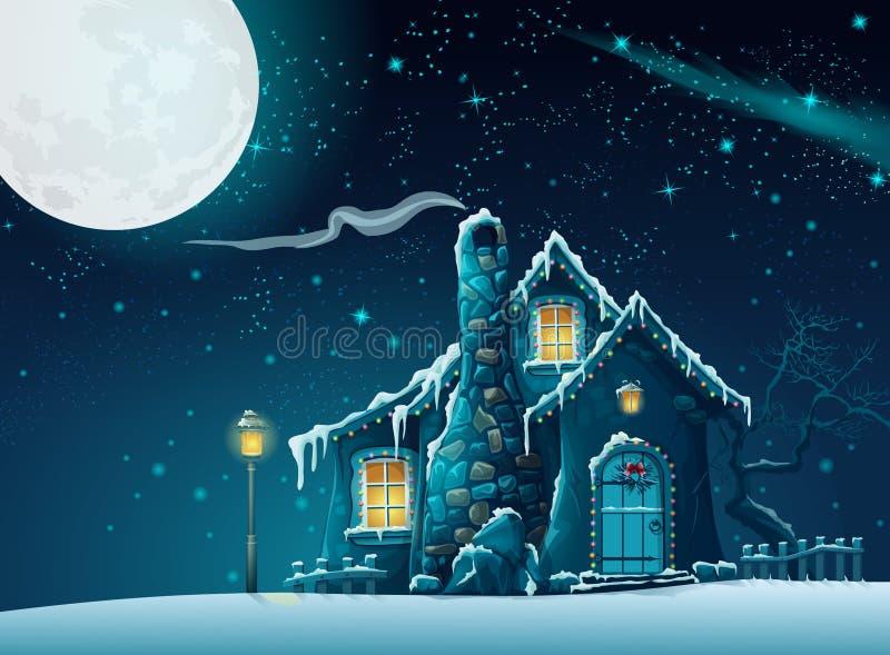 Noite do inverno com uma casa fabulosa no luar ilustração do vetor