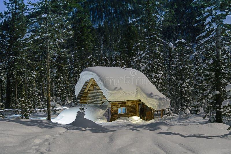 Noite do inverno da cabana de Taiga com linha luminosa imagem de stock royalty free