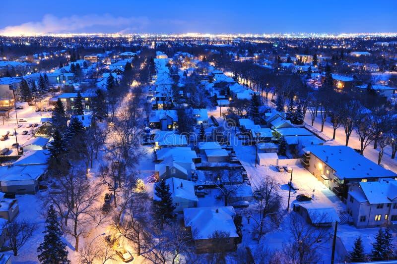 Noite do inverno de edmonton da cidade fotografia de stock