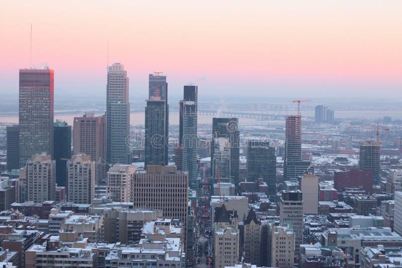 Noite do inverno de Montreal foto de stock royalty free