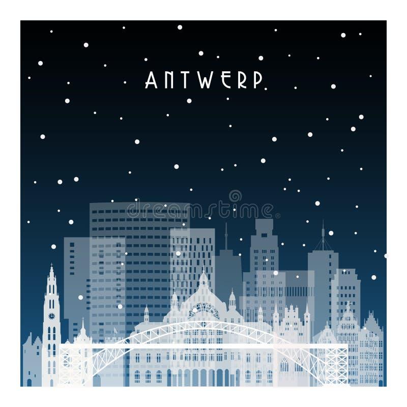 Noite do inverno em Antuérpia Cidade da noite no estilo liso ilustração royalty free