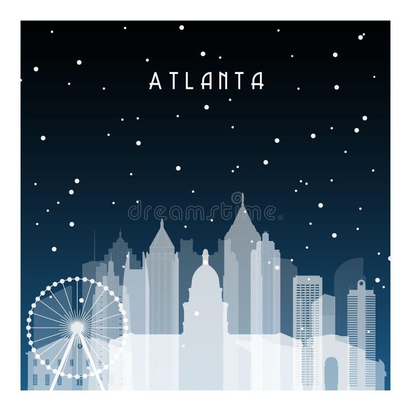 Noite do inverno em Atlanta ilustração stock