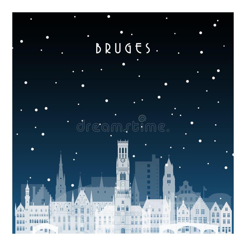 Noite do inverno em Bruges ilustração royalty free