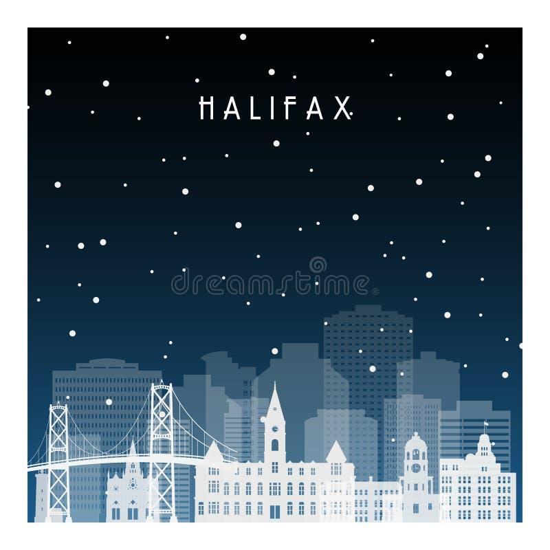 Noite do inverno em Halifax ilustração stock