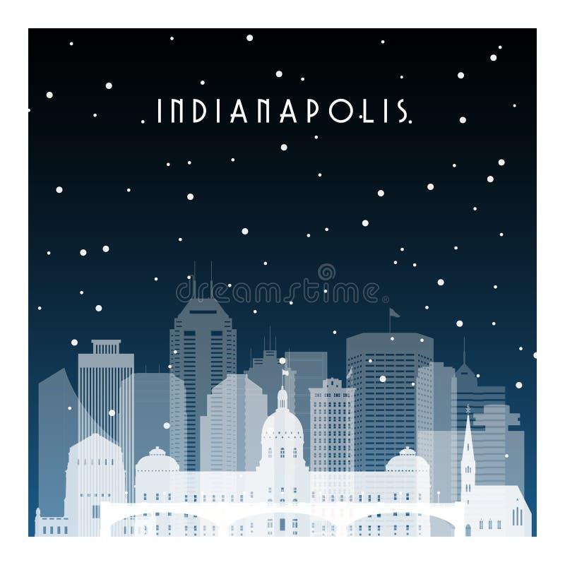 Noite do inverno em Indianapolis ilustração royalty free