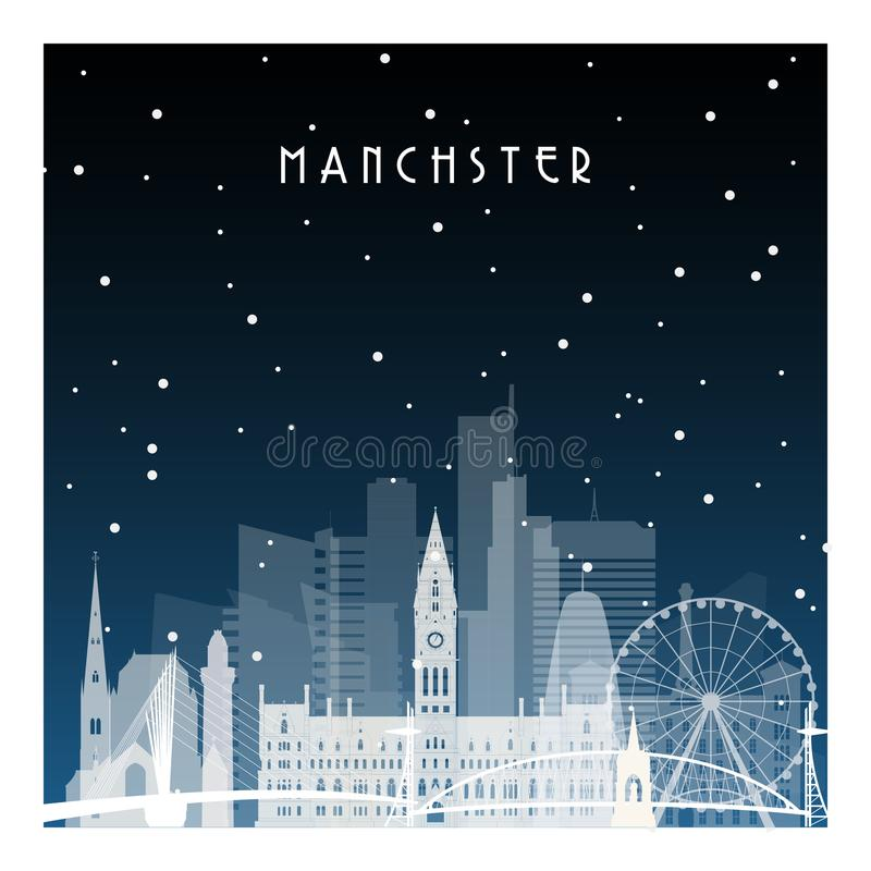 Noite do inverno em Manchester ilustração royalty free