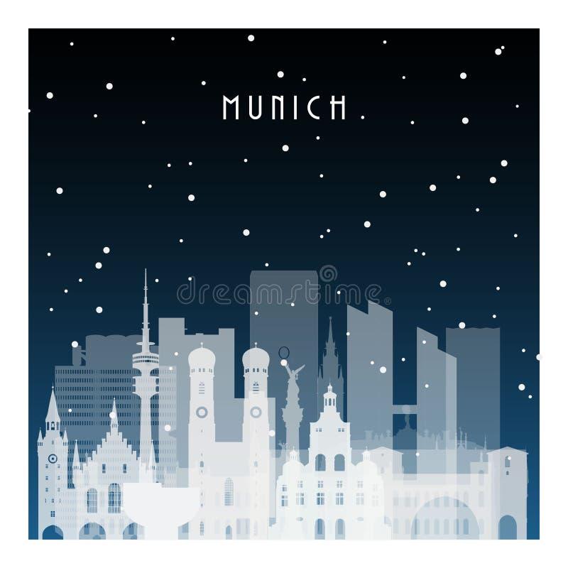 Noite do inverno em Munich ilustração do vetor