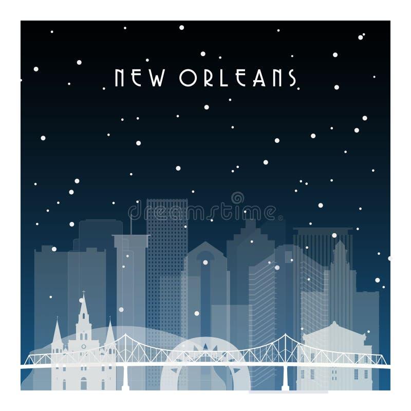 Noite do inverno em Nova Orleães ilustração do vetor