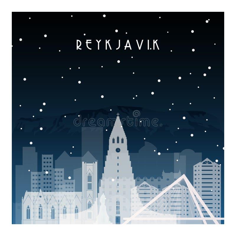 Noite do inverno em Reykjavik ilustração royalty free