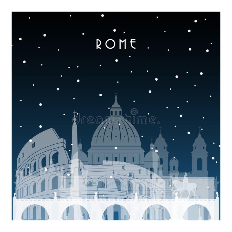 Noite do inverno em Roma ilustração royalty free