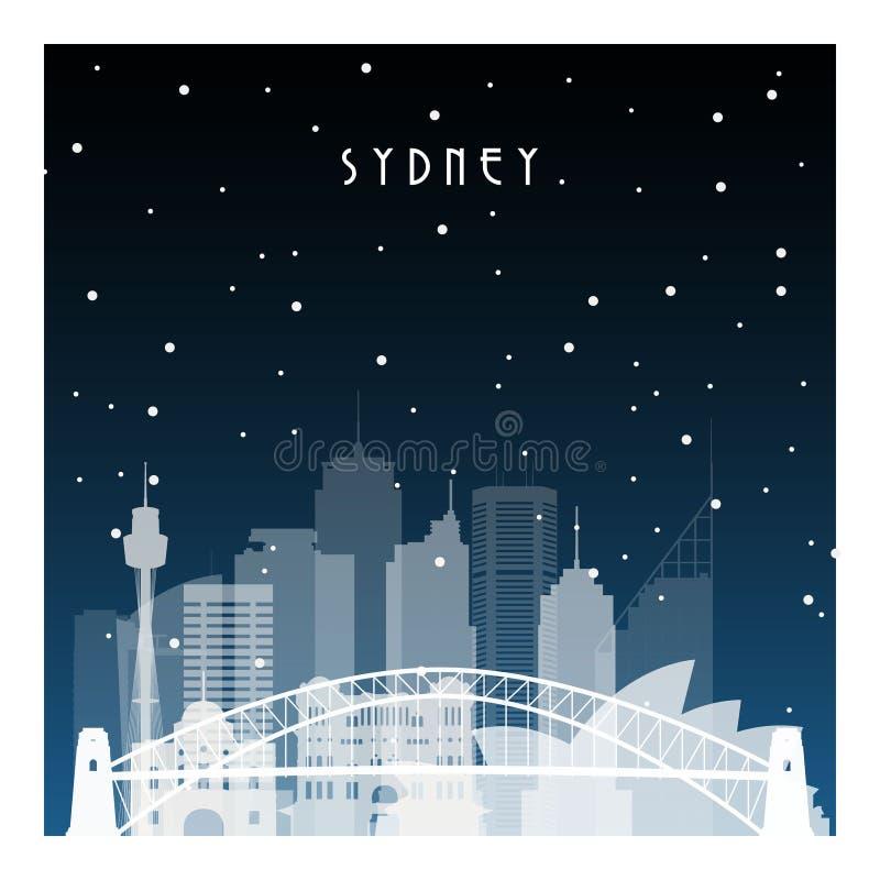 Noite do inverno em Sydney ilustração stock