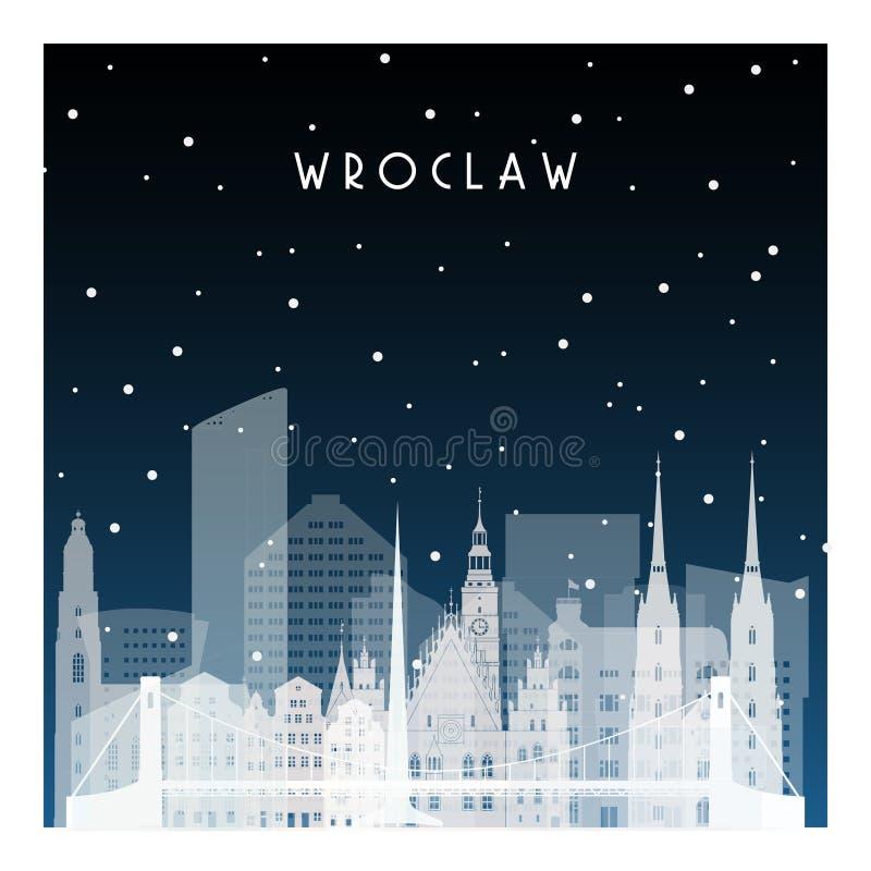 Noite do inverno em Wroclaw ilustração stock
