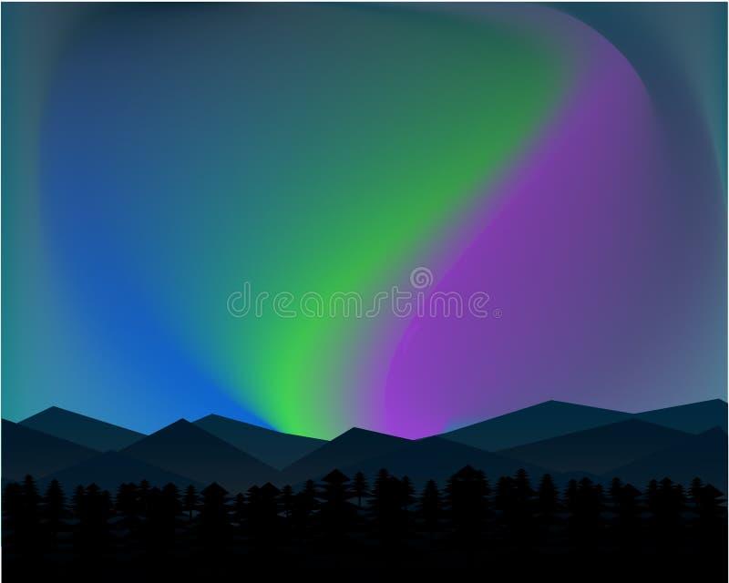 Noite do norte da paisagem da montanha com Aurora Stars Sky Background ilustração royalty free