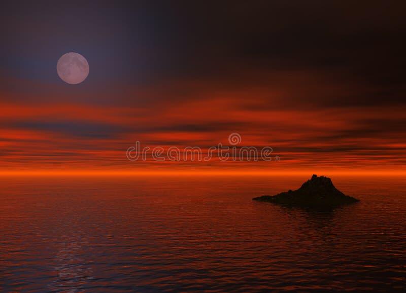 Noite do oceano ilustração do vetor