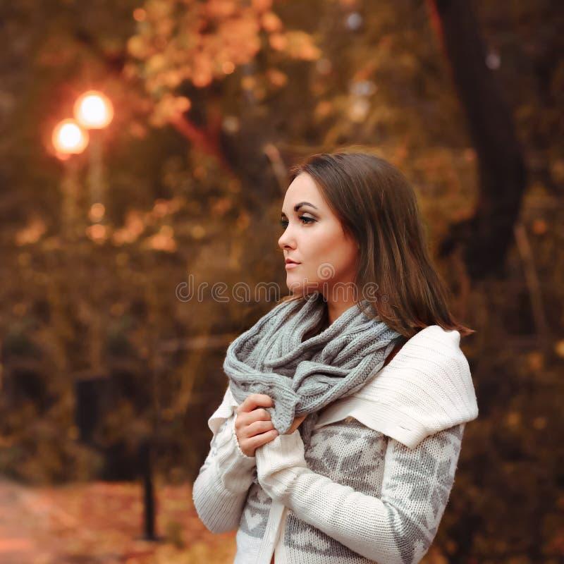Noite do outono do retrato da jovem mulher fotografia de stock royalty free