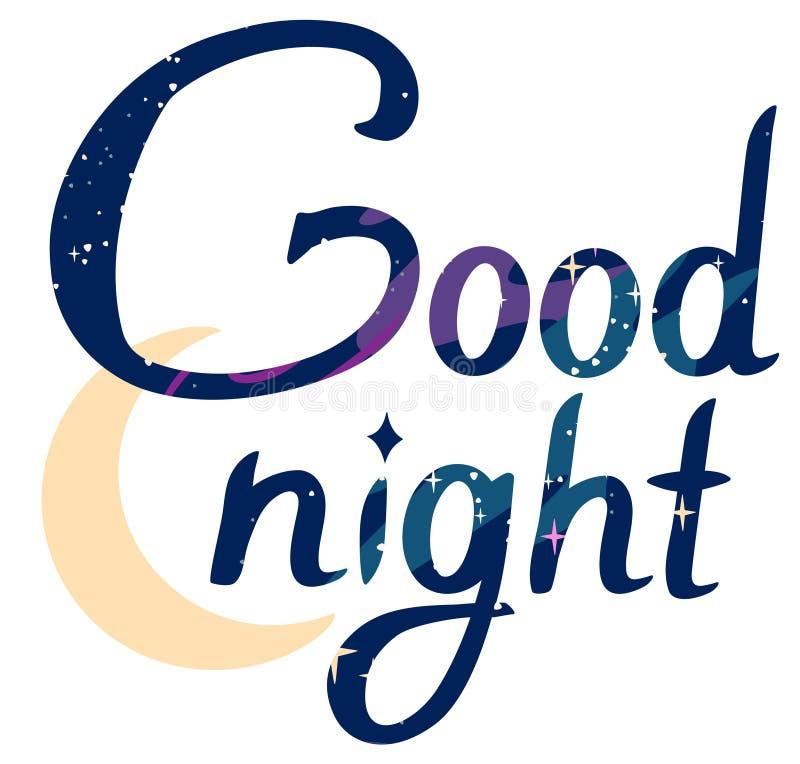 Noite do texto da estrela do espaço boa no fundo transparente ilustração royalty free