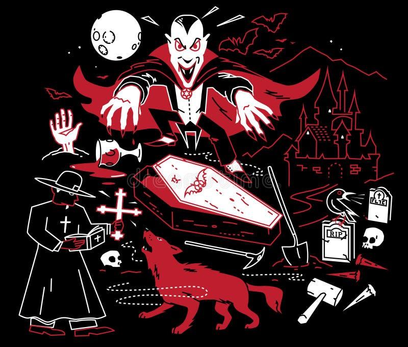 Noite do vampiro ilustração stock