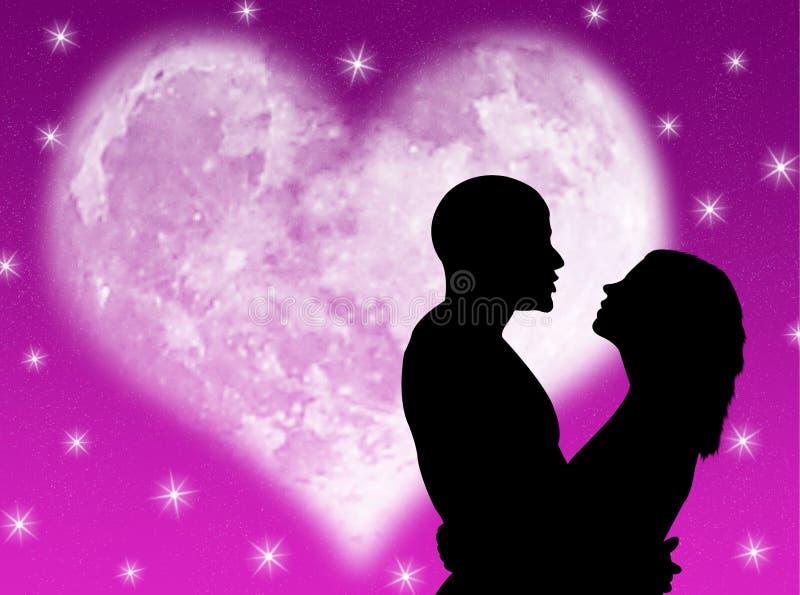Noite dos amantes ilustração royalty free