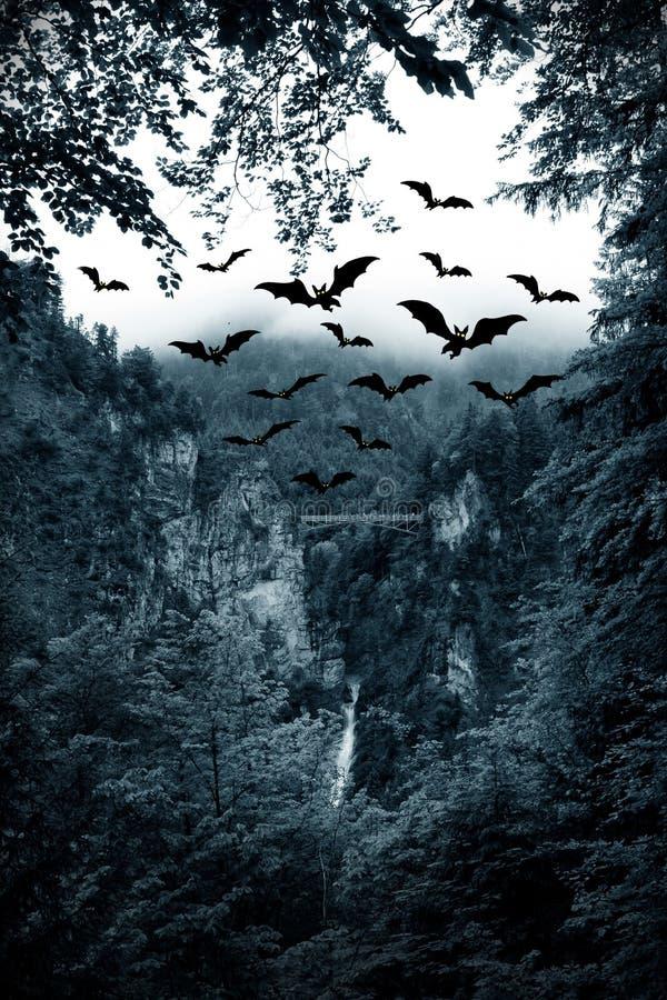 Noite e bastões em Halloween fotos de stock royalty free