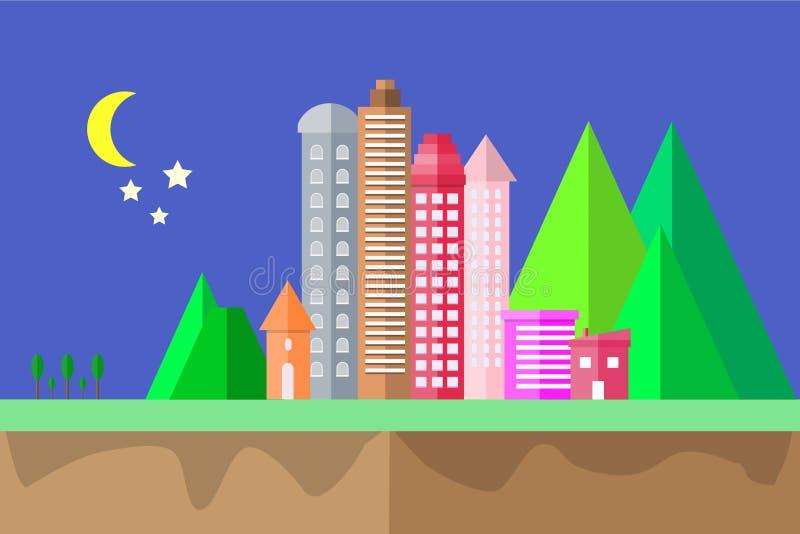 a noite e a lua do ícone da cidade na cena lisa geométrica do conceito de projeto da forma da paisagem do céu projetam a ilustraç ilustração do vetor