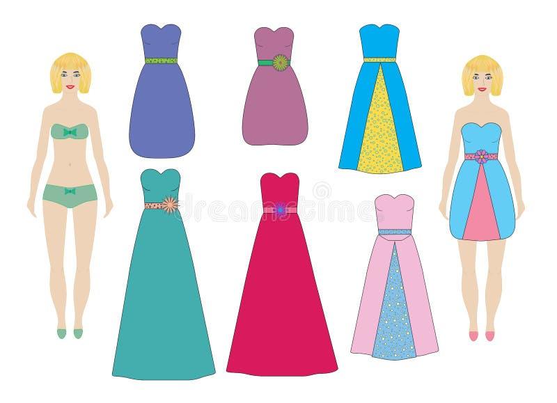 Noite e vestidos de cocktail para as bonecas de papel menina, grupo da mulher, vetor ilustração royalty free