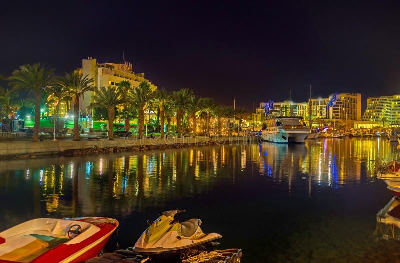 A noite em Eilat imagens de stock