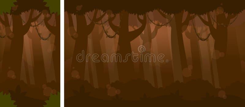 Noite em Forest Video Game Background ilustração royalty free