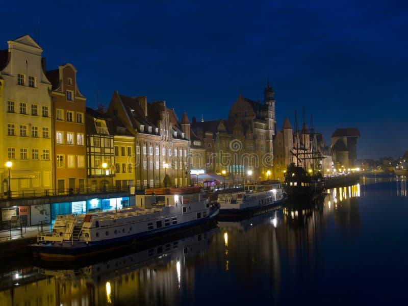 Noite em Gdansk velho fotos de stock