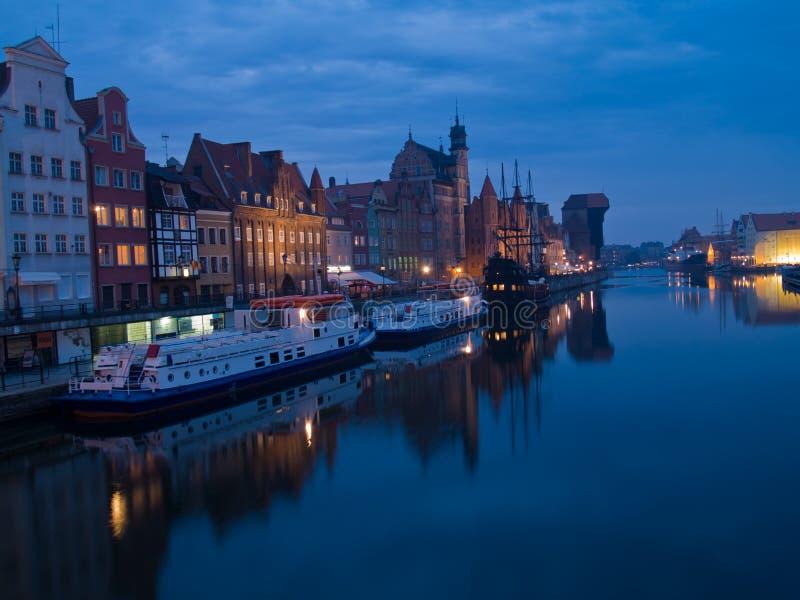 Noite Em Gdansk Velho, Poland Fotos de Stock Royalty Free