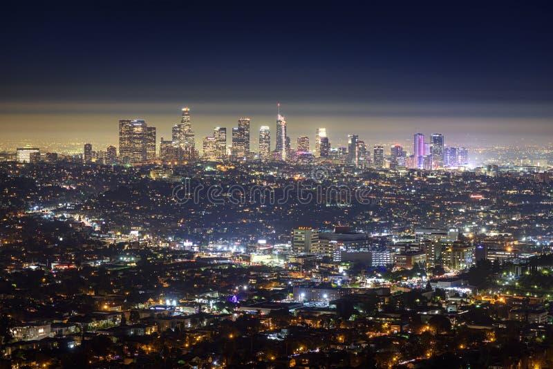 Noite em Los Angeles do centro imagens de stock royalty free