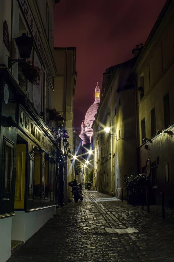 Noite em Montmartre fotografia de stock