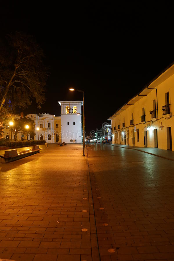 Noite em Popayan Colômbia fotografia de stock