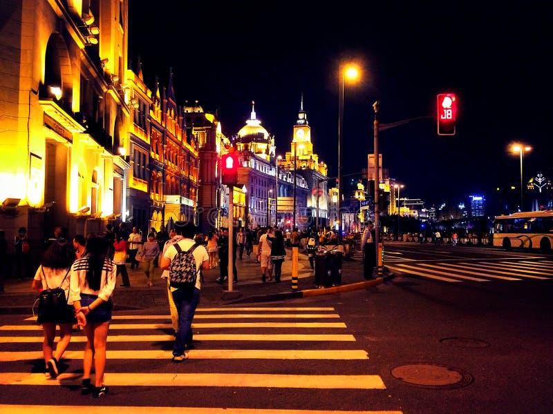 Noite em Shanghai fotos de stock royalty free