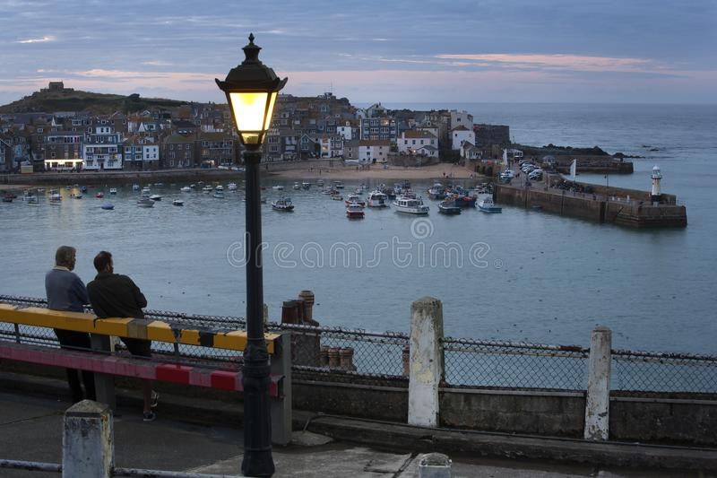 Noite em St Ives, Cornualha Reino Unido fotografia de stock