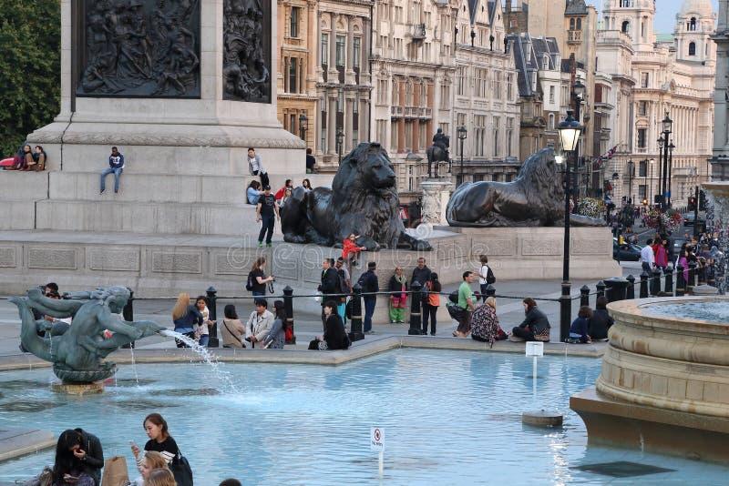Noite em Trafalgar Square, Londres imagens de stock royalty free