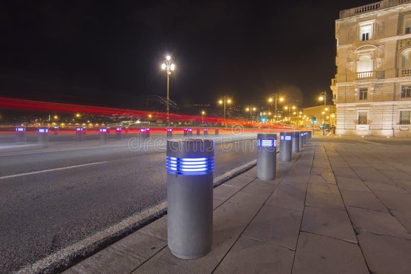 Noite em Trieste, Itália fotografia de stock