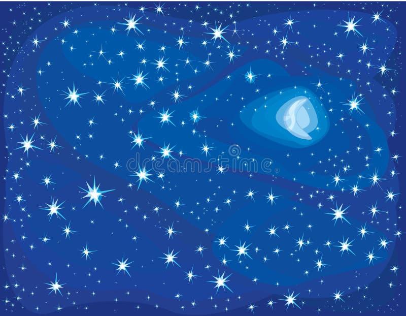 Noite estrelado. ilustração do vetor