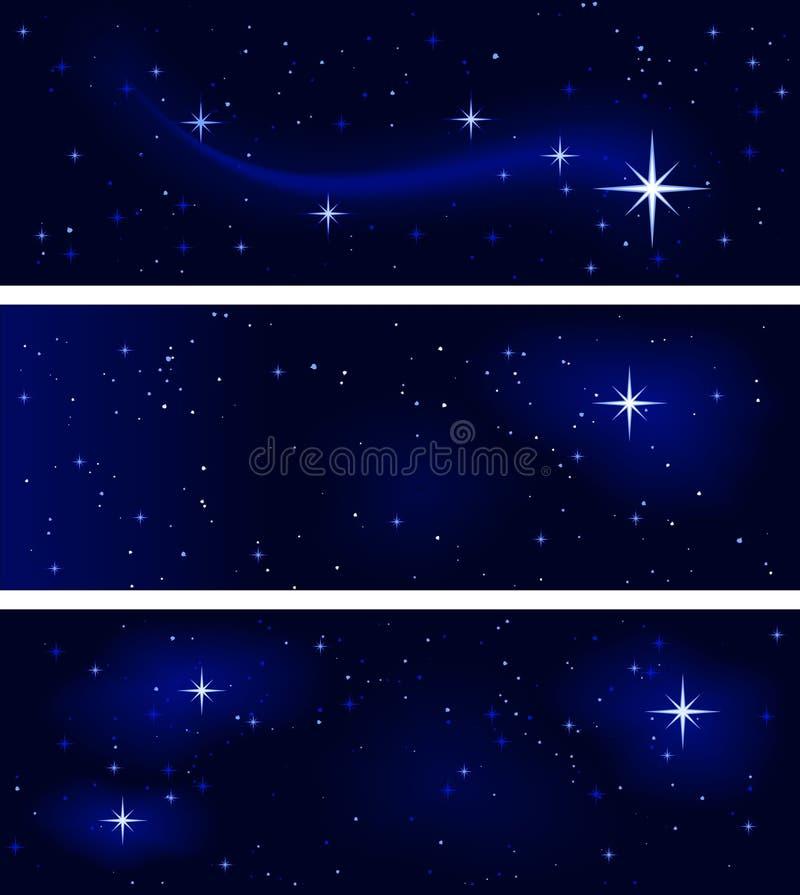 Noite estrelado calma, silencioso e tranquilo ilustração do vetor