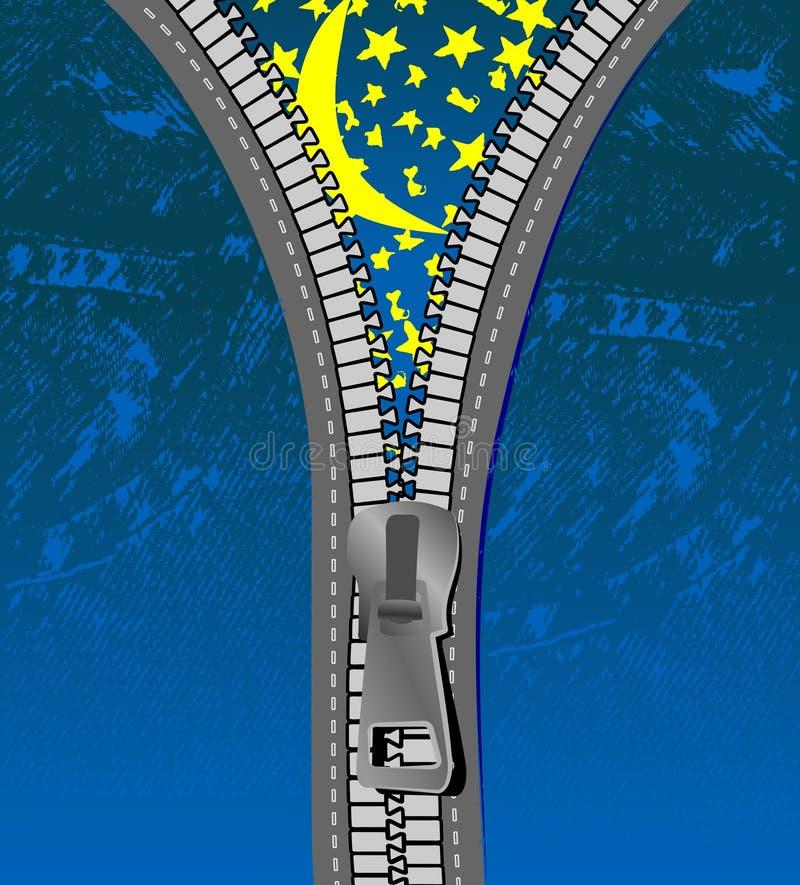 Noite estrelado sobre calças de brim com Zipper. ilustração royalty free