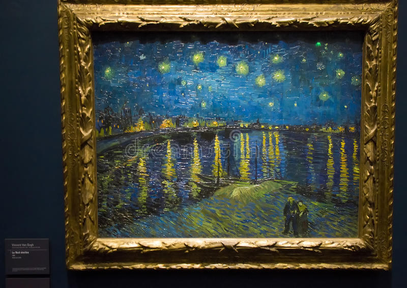 Noite estrelado sobre o Rhone por Vincent van Gogh fotografia de stock royalty free
