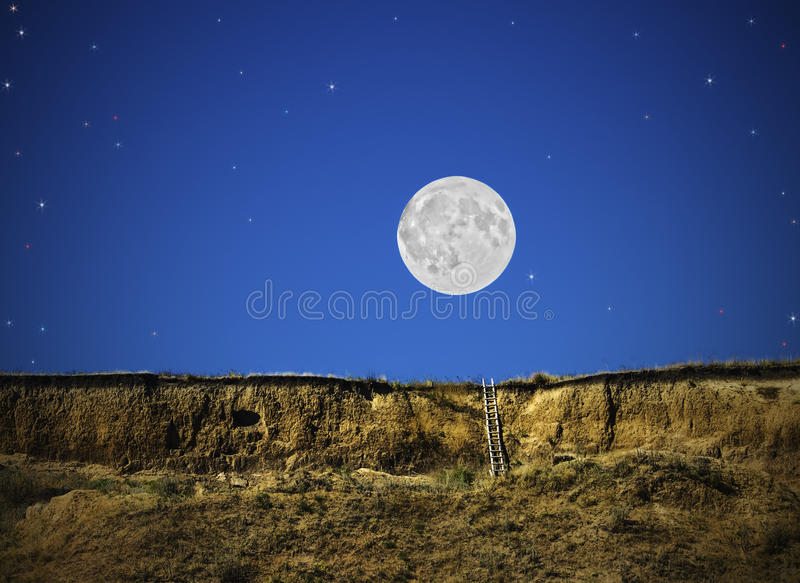 Noite fantástica do conto de fadas com a lua e as estrelas, sonho, ilustração imagem de stock