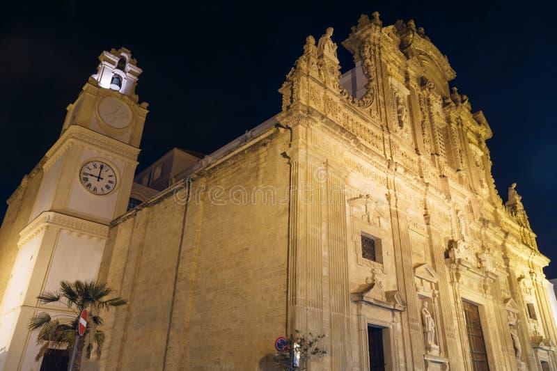 Noite Gallipoli, Puglia, Itália, Saint Agata Cathedral imagem de stock royalty free