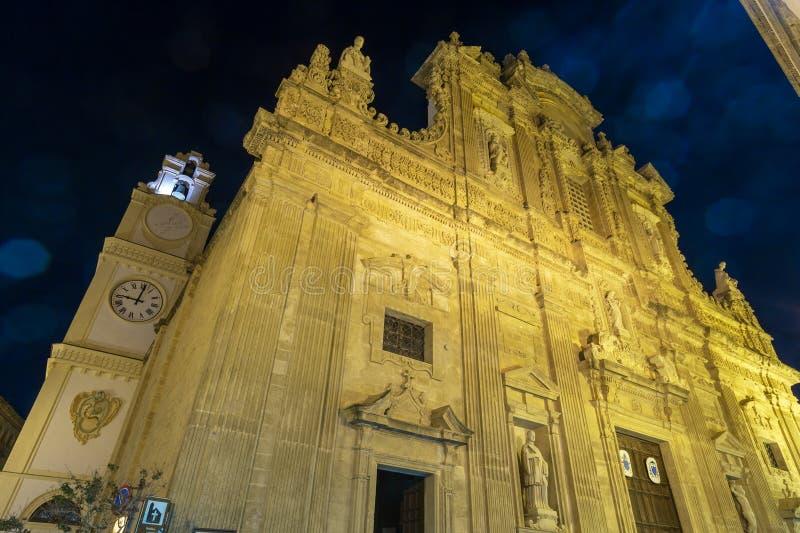 Noite Gallipoli, Puglia, Itália, Saint Agata Cathedral imagens de stock royalty free