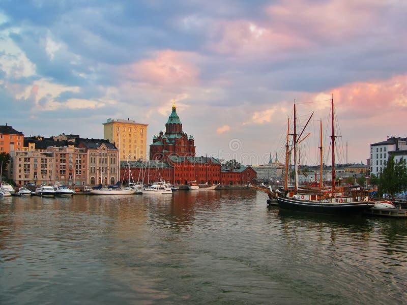 Noite Helsínquia fotos de stock royalty free