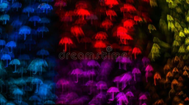 A noite ilumina a forma do guarda-chuva do bokeh, luzes defocused do bokeh, blurr imagem de stock royalty free