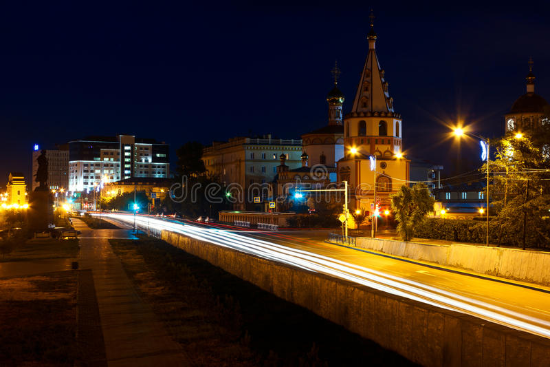 Noite Irkutsk, Rússia fotografia de stock royalty free